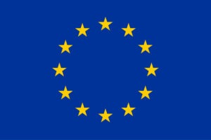 EU flag. Blue background with yellow stars set out in a circle