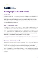 Front cover of the CAE Managing Accessible Toilets Factsheet