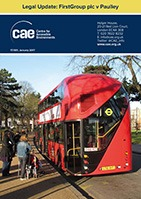 Front cover of CAR Legal Update showing CAE logo and image of a London bus and a pedestrian pushing a pushchair