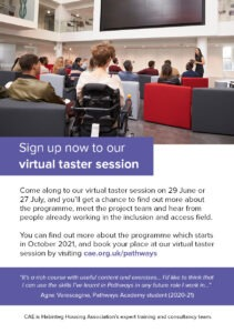 Sign up now to our virtual taster session flyer